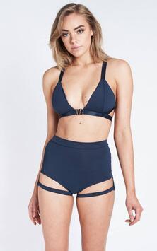 Lure You High Waist Shorts Navy Blue Luna