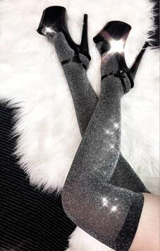 Overknee Strümpfe Silber Lurex Luna