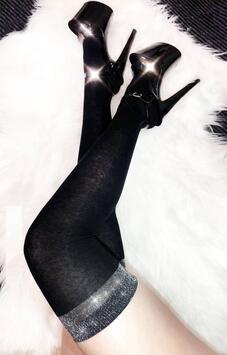 Overknee Strümpfe Schwarz mit Silberband Luna